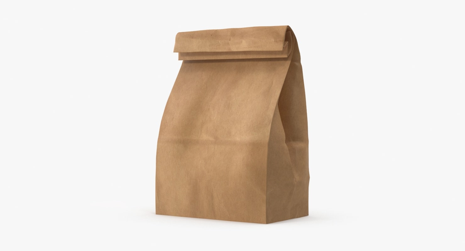 brown paper lunch bag 3d model