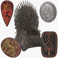 Game of Thrones Iron Throne and Shields Collection