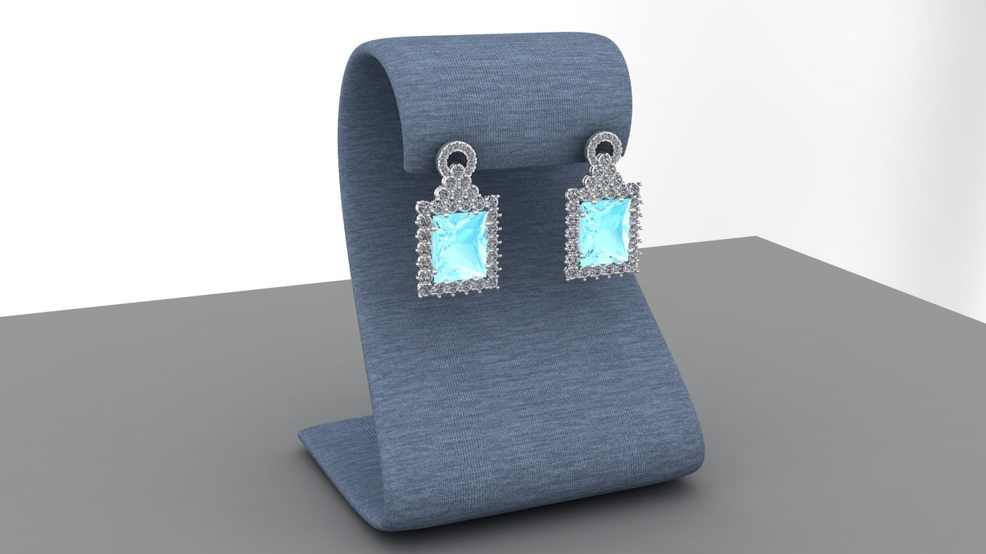earrings diamond aquamarine 3d model
