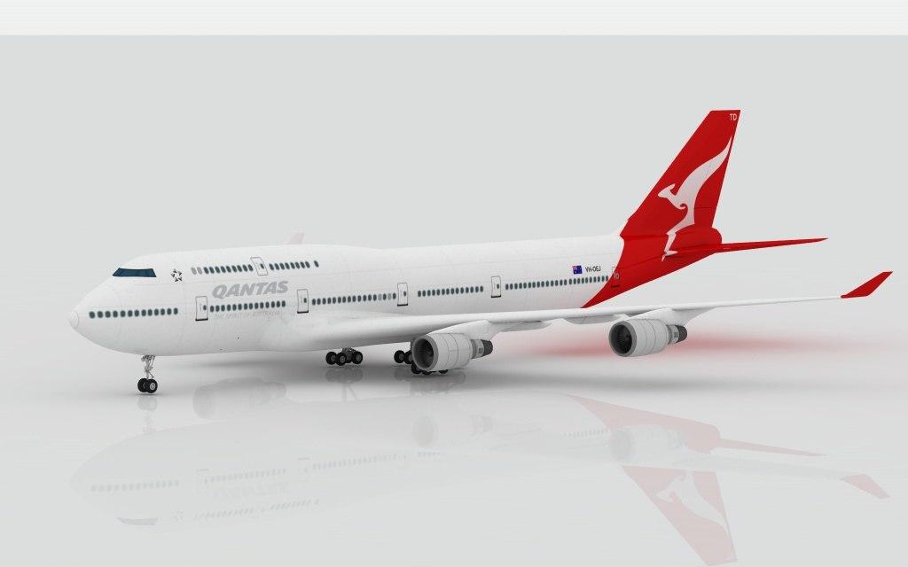 3d airplane boeing 747 qantas