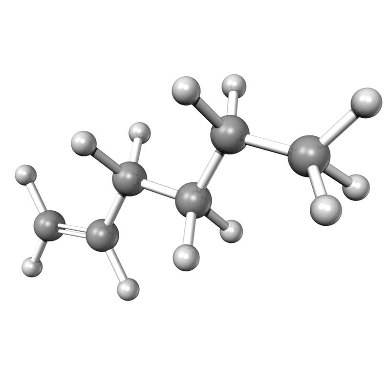 3d model butylethylene c6h12