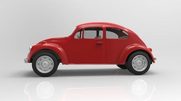3d model beetle retro vintage