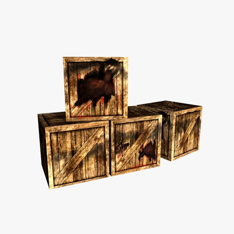 bloody broken box 3d c4d