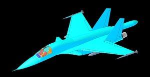 3d model sukhoi su-34 aircraft solid