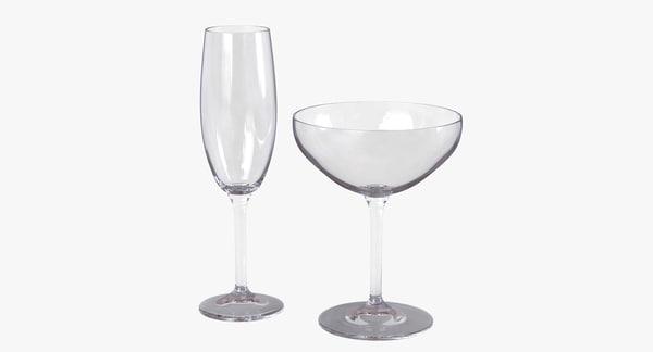 champagne glasses 3d obj