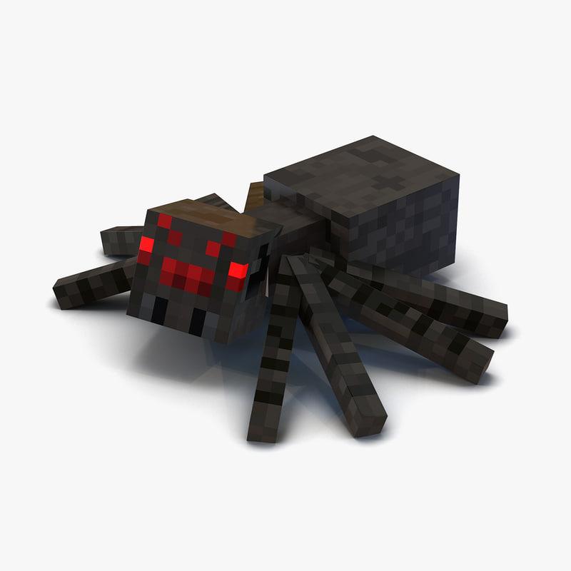 3d minecraft spider rigged