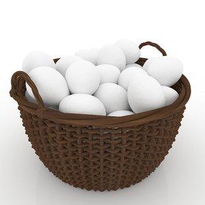 3d easter wicker basket eggs