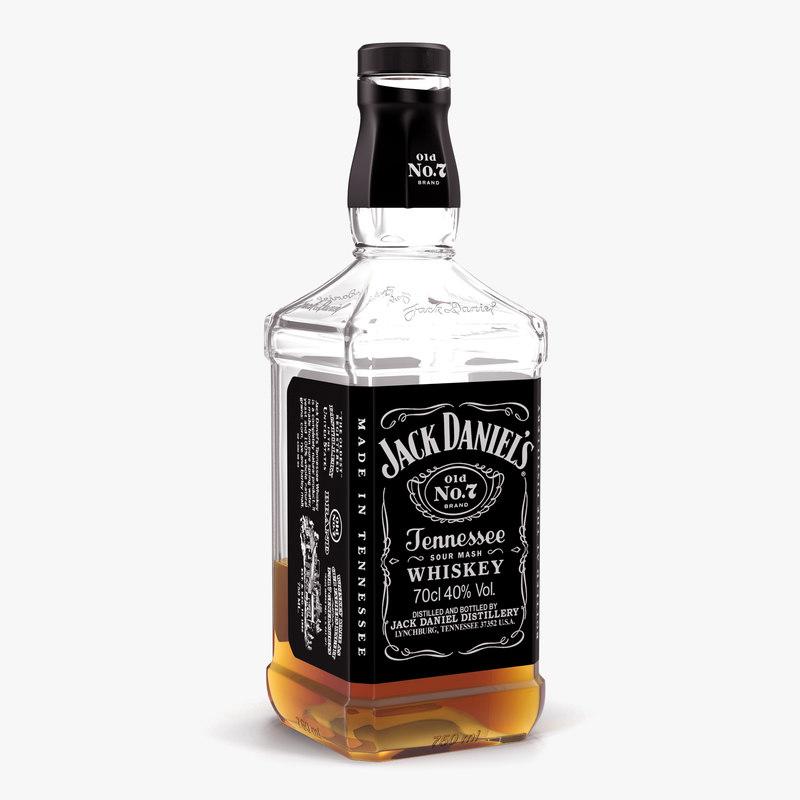 3d model jack daniels bottle half