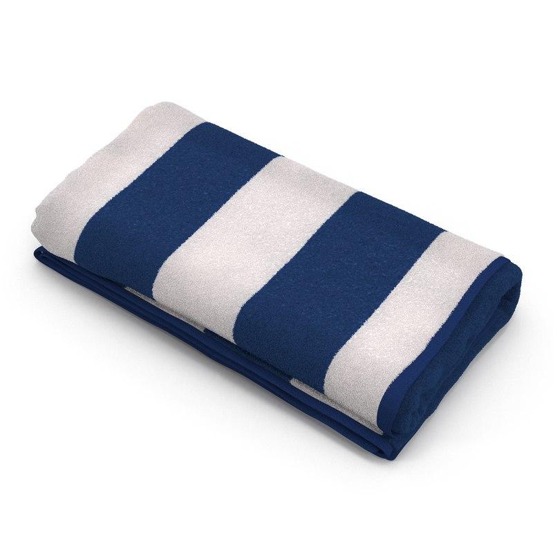 3d model beach towel 3 white
