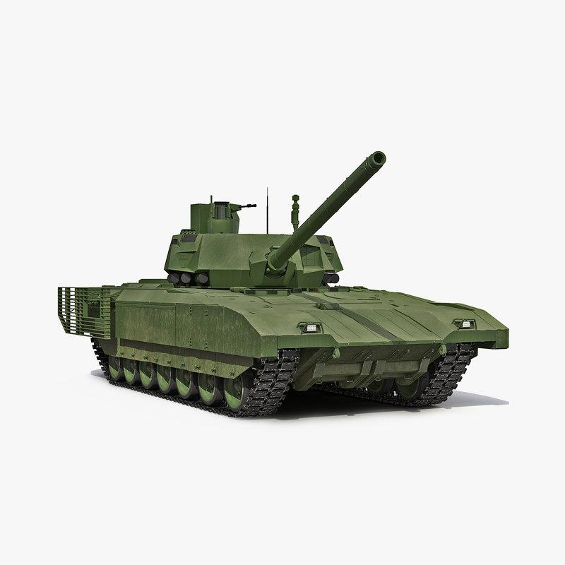 3d model tank t-14 armata rigged