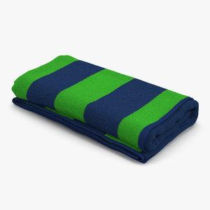 beach towel 3 green 3d max