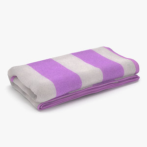 3d beach towel 3 pink model