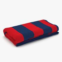 3d model beach towel 3 red