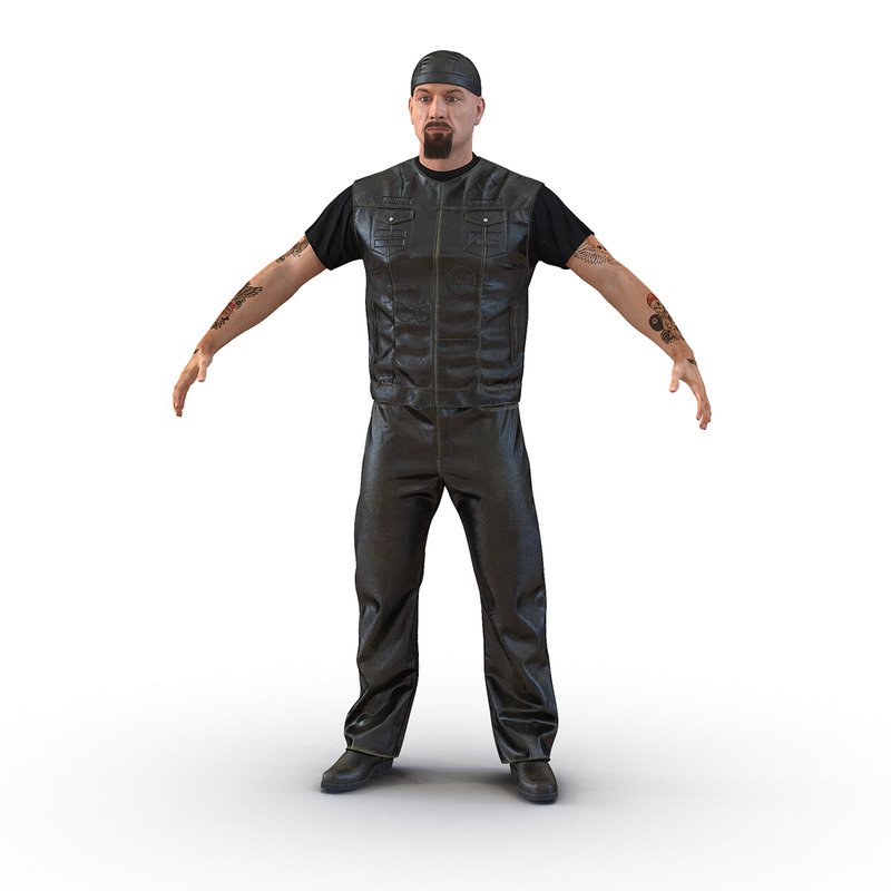 3d biker man generic fur model
