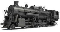 Steam Locomotive Train 3D Model