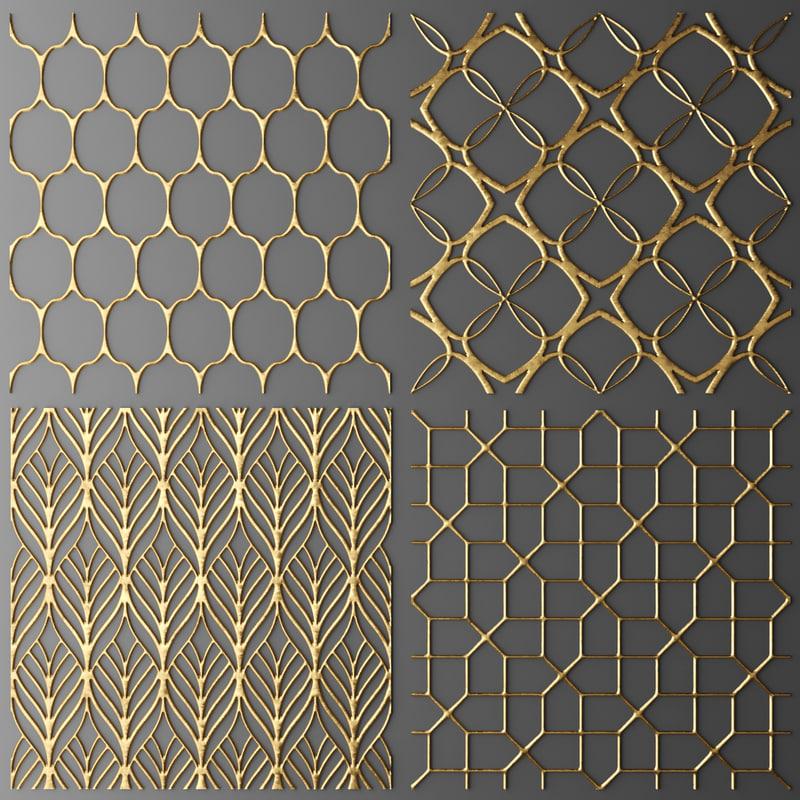 3d model set panel lattice grille