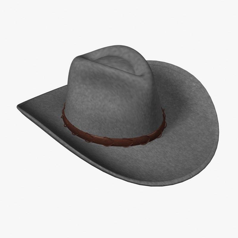 3d model western hat
