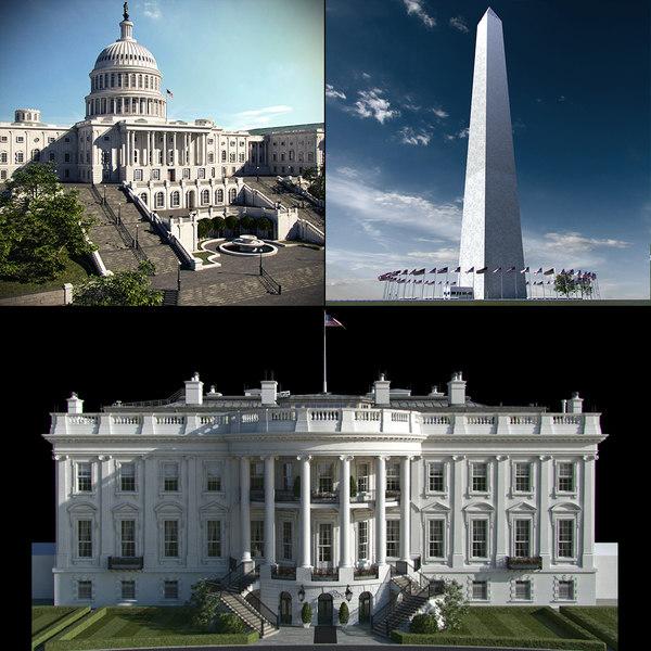washington white house 3d max