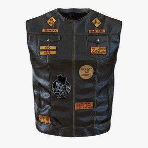 leather biker vest 3d model