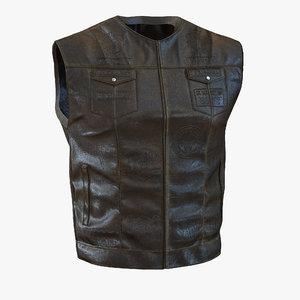 leather biker vest generic 3ds