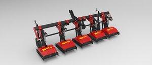 3d inter-row hoe machinery model