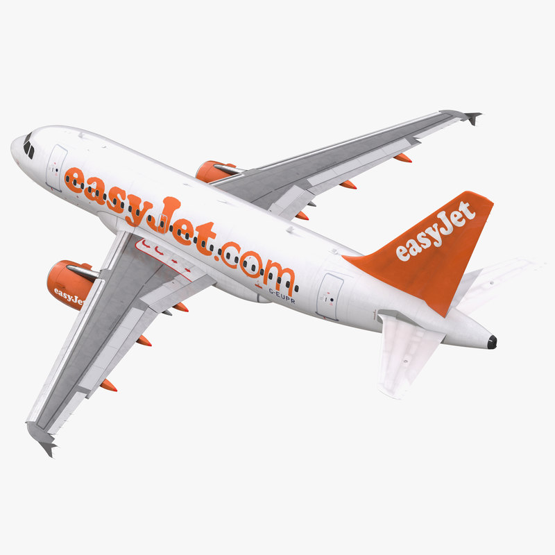 3d model airbus a318 easyjet rigged