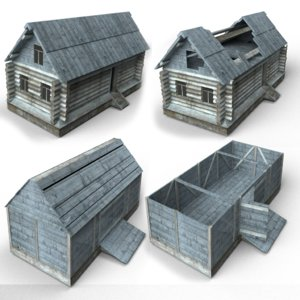 3d low-poly wooden buildings house roof