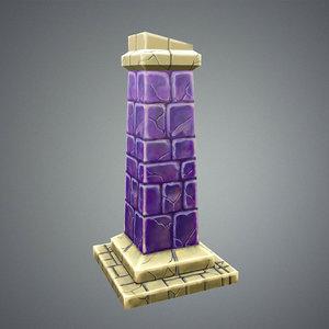 stylize pillar 3d model