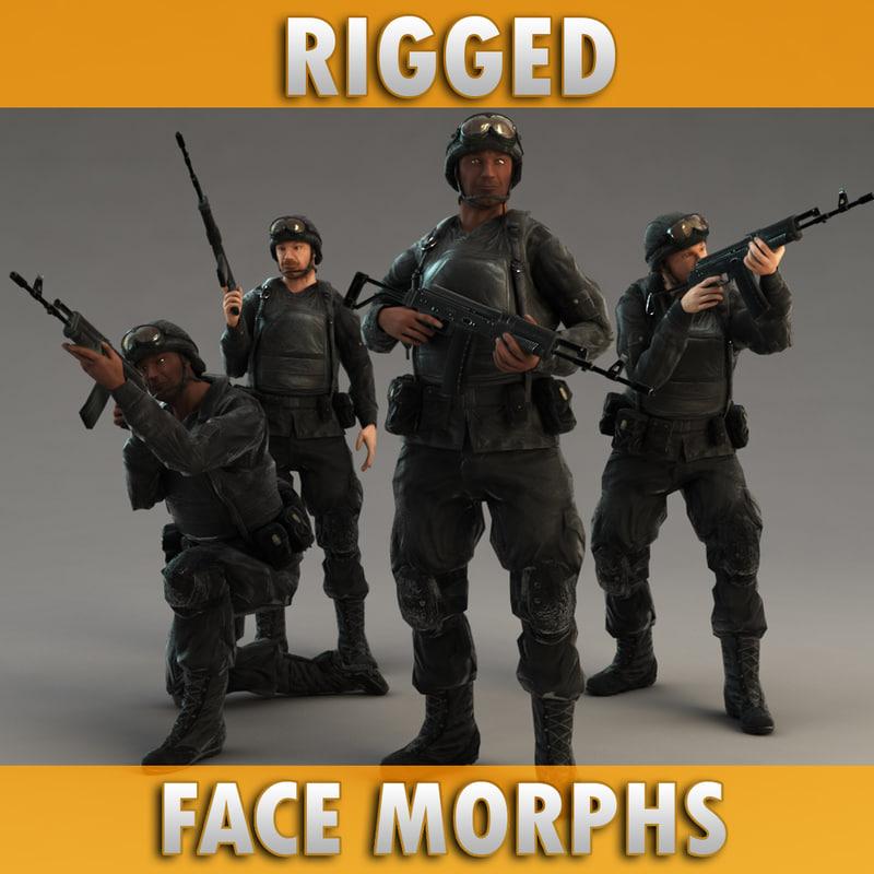 3d soldier rifle model
