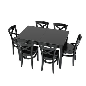black table chair 3ds