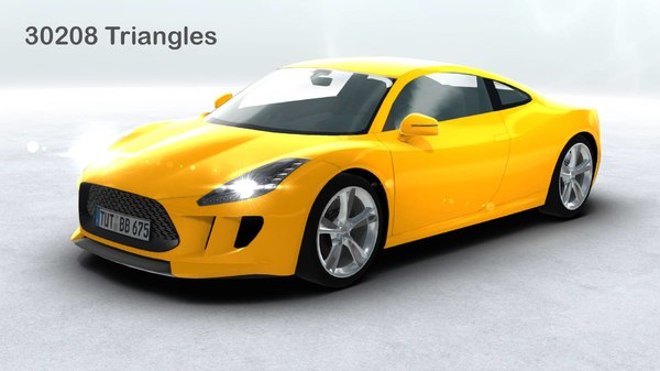 generic sports car real time 3d model