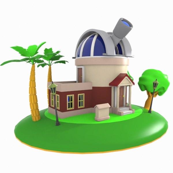 cartoon observatory toon 3d model