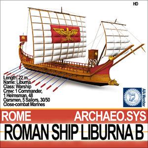 ancient roman ship liburna 3d model
