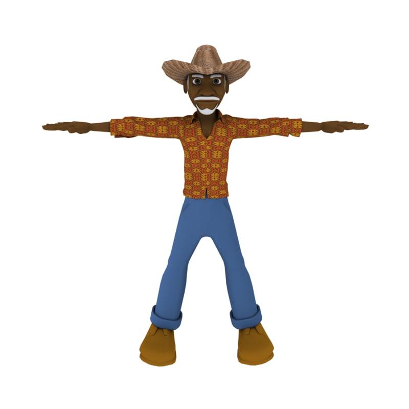 character haitian man 3d model