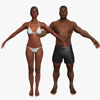 3d model african american combo pack