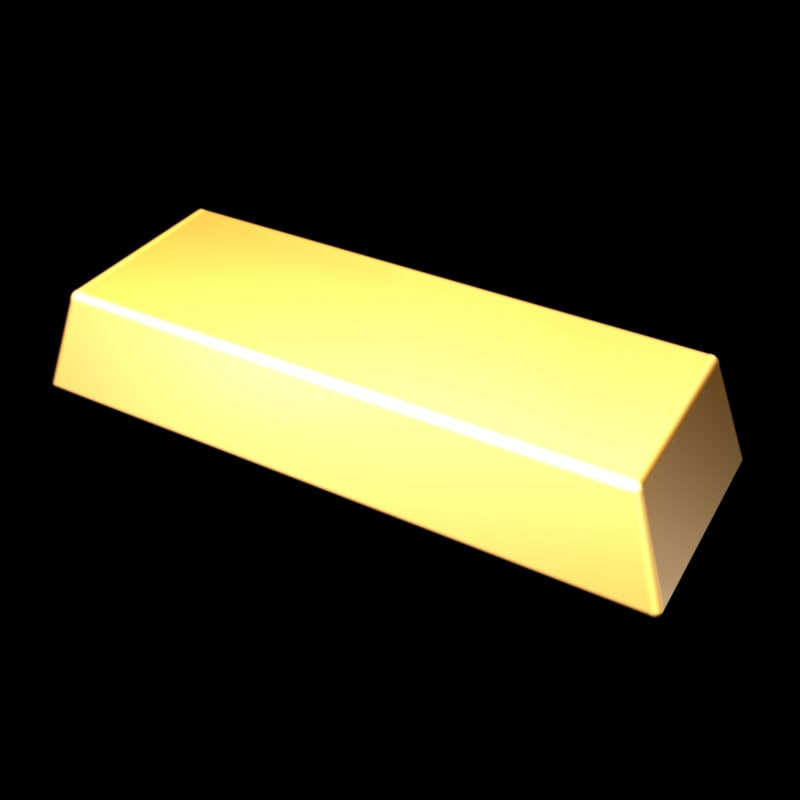 3d divided gold bar model