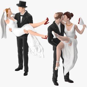 3d model bride groom miniatures