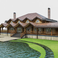 luxury chalet house building 3d max