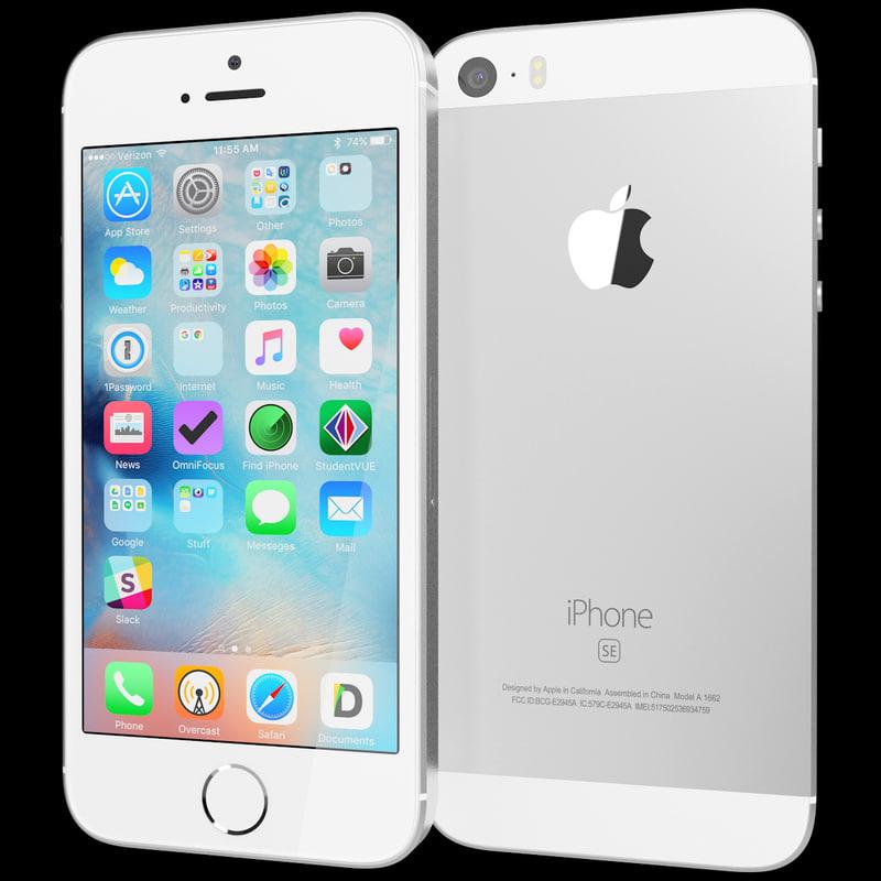 realistic apple iphone se 3d model