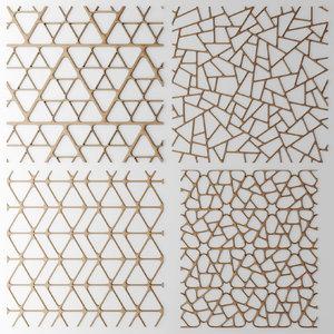 3d model of set panel lattice grille