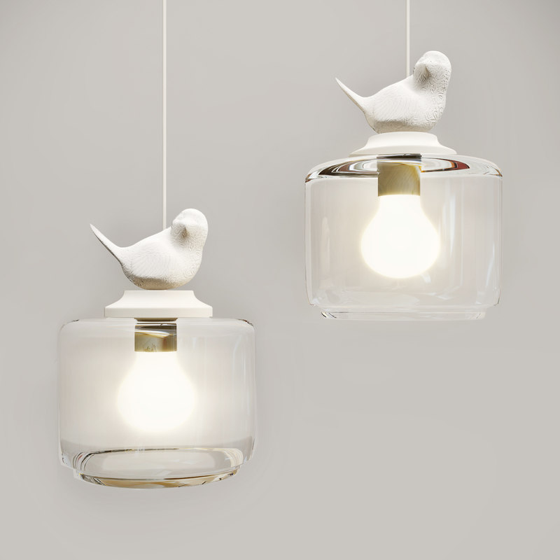 3d bird pendant glass