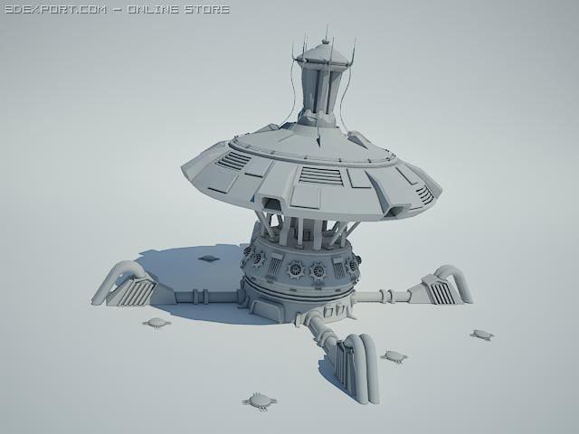 3d model of futuristic sci fi building