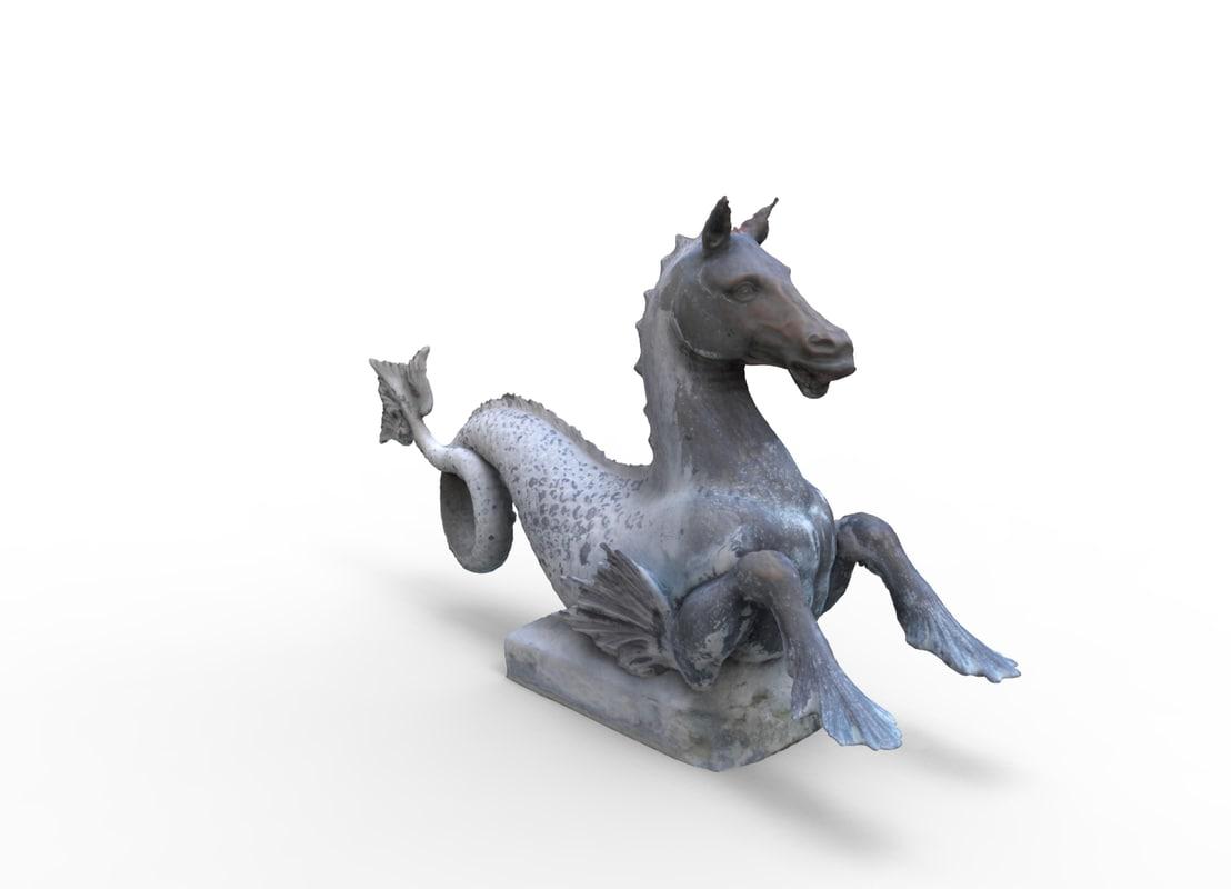 3d model sea horse statue
