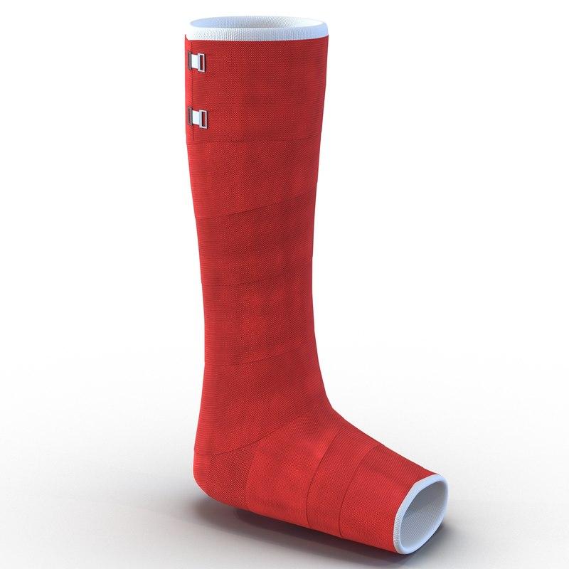 orthopedic cast leg 3d c4d