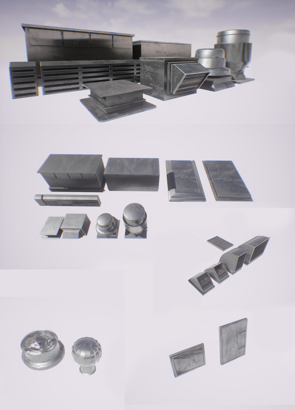 roof mashines 20 elements 3d model