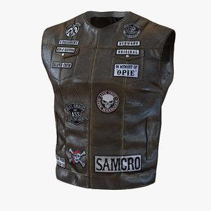 leather biker vest 2 3d model