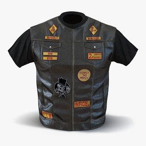 biker vest 3d obj
