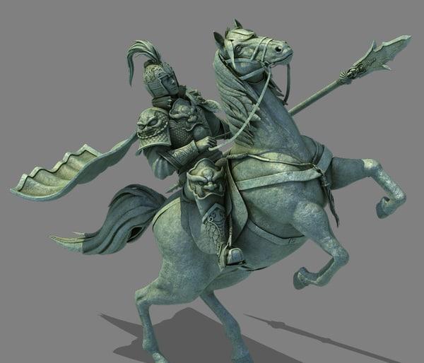 3d statue generals riding commander model