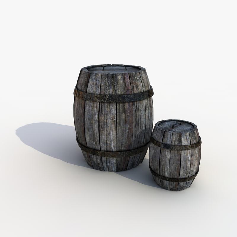 3d model barrel cartoon