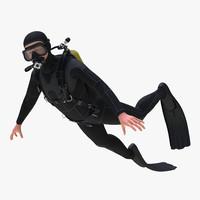 3d model diver rigged